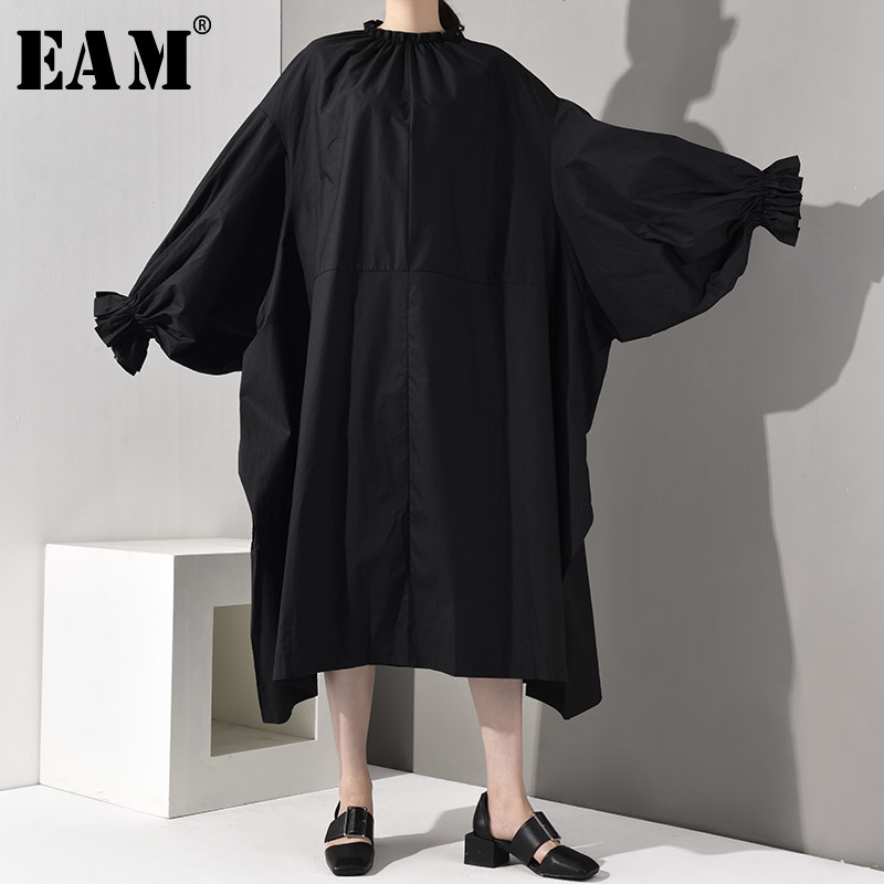 [EAM] 2020 New Spring Autumn Stand Collar Long Sleeve Black Loose Pleated Long Big Size Oversize Dress Women Fashion Tide LG0300