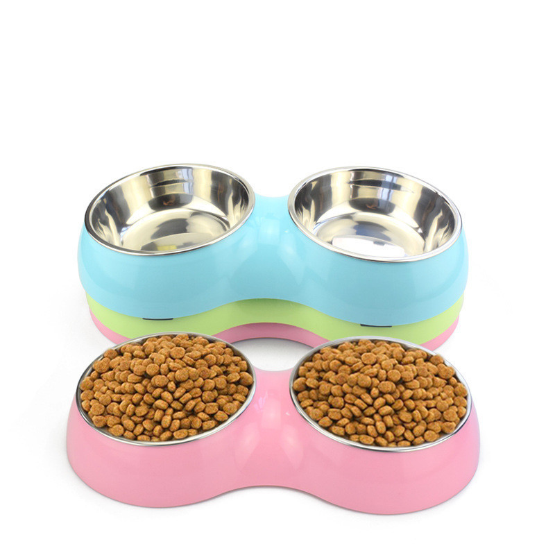 New Fashion Pet Feeders Bowl Steel Candy Color Double Mouth Dog Bowl for Small and Medium Dog Pet Supplies (pink,blue,green)