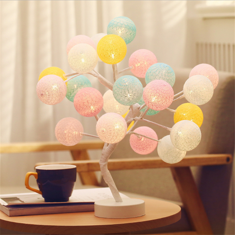 Cotton Ball Rose LED Strings 24-LED Night Lights Decorative lights Natal Bachelorette Party Decoration Mariage Wedding Decor.Q