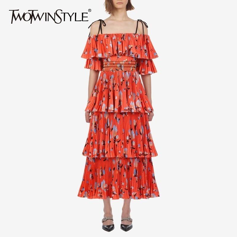 TWOTWINSTYLE Vintage Print Off Shoulder Women Dress Slash Neck Half Sleeve High Waist Ruffles Midi Dresses