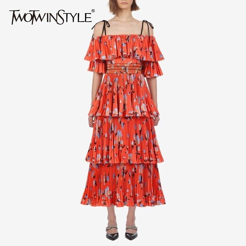 TWOTWINSTYLE Vintage พิมพ์ปิดไหล่ผู้หญิง Slash คอครึ่งแขนสูงเอว Ruffles Midi Dresses หญิงแฟชั่น 2019-ใน ชุดเดรส จาก เสื้อผ้าสตรี บน AliExpress - 11.11_สิบเอ็ด สิบเอ็ดวันคนโสด 1