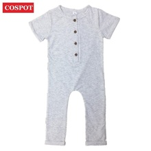 c0ff01bea0e COSPOT Newborn Summer Romper Baby Boys Girls Cotton Rolled Sleeve Jumpsuit  Kids Plain Fashion Jumper Infant
