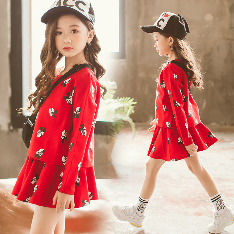 Girl Mickey Dress Two Piece Set Baby Girl Winter Clothes -8043