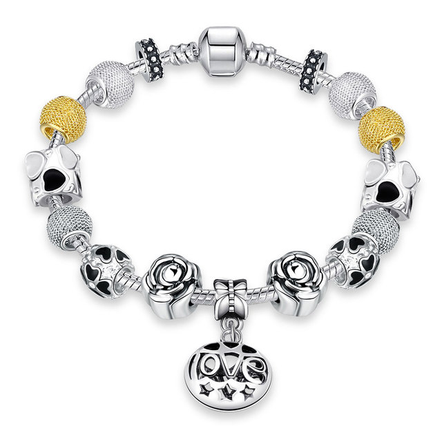 Jemmin Cesta Estilo Elegante Beads Charm Bracelet Bonito Estilo Clássico Cuff Pulseiras Vintage Retro Mulher Jóias de Prata Esterlina