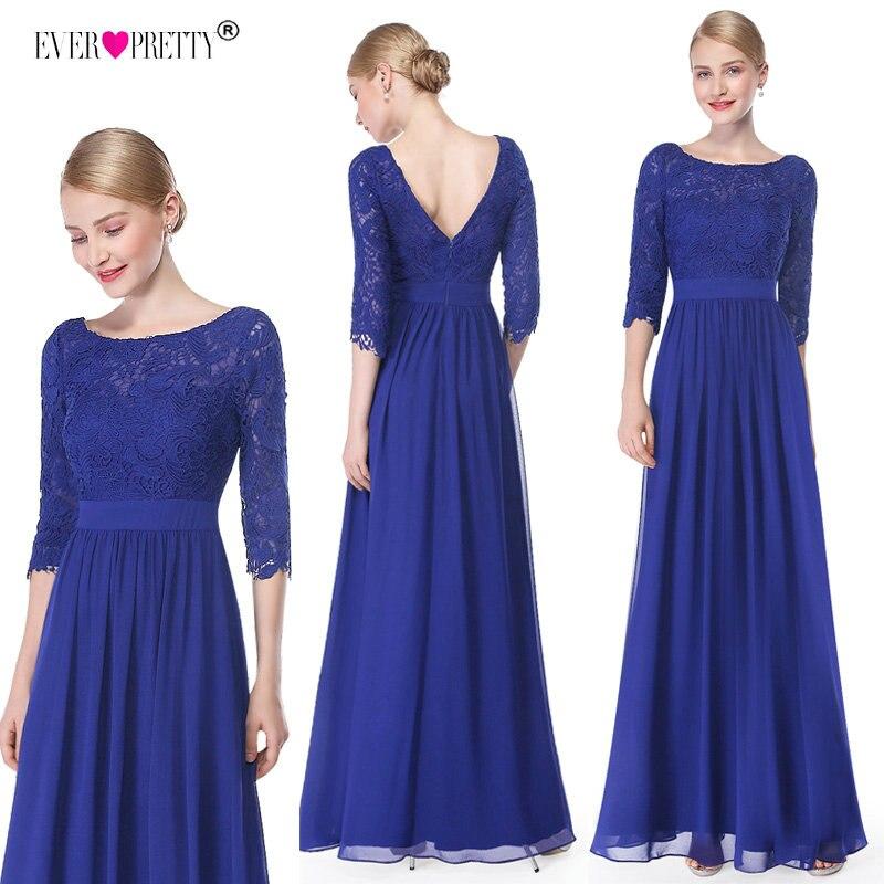 2b36c95a5bf42 Evening Dresses Ever Pretty 8412 Women Royal Blue A line Elegant 3/4 ...