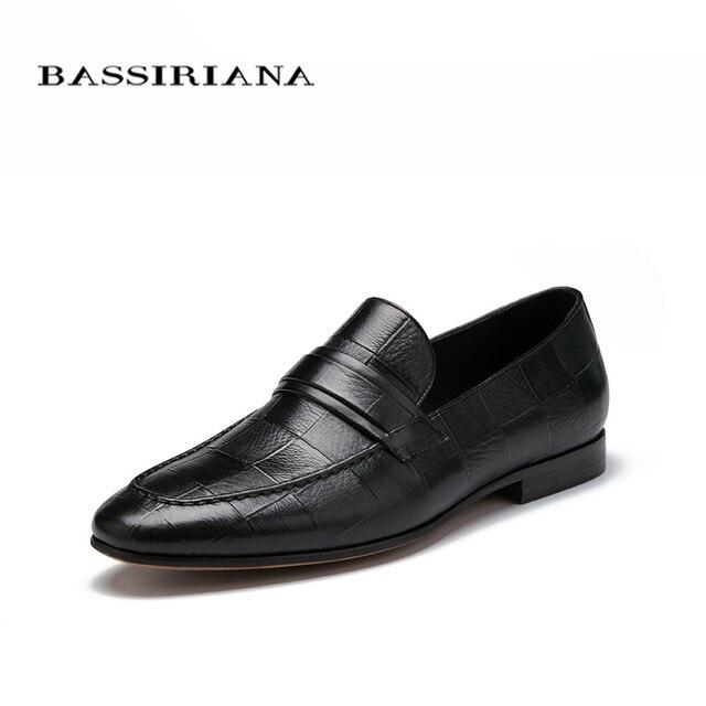 Мужской обуви Весна 2017 Новая модель обувь Из Натуральной кожи Черного 39-45 Скольжения на мужской обуви Бесплатная доставка BASSIRIANA