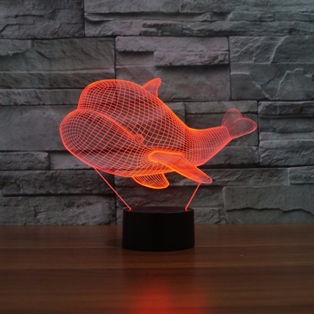 Whale Shape 3D Lamp LED Fish 3d night light Remote Switch 7 Color ...