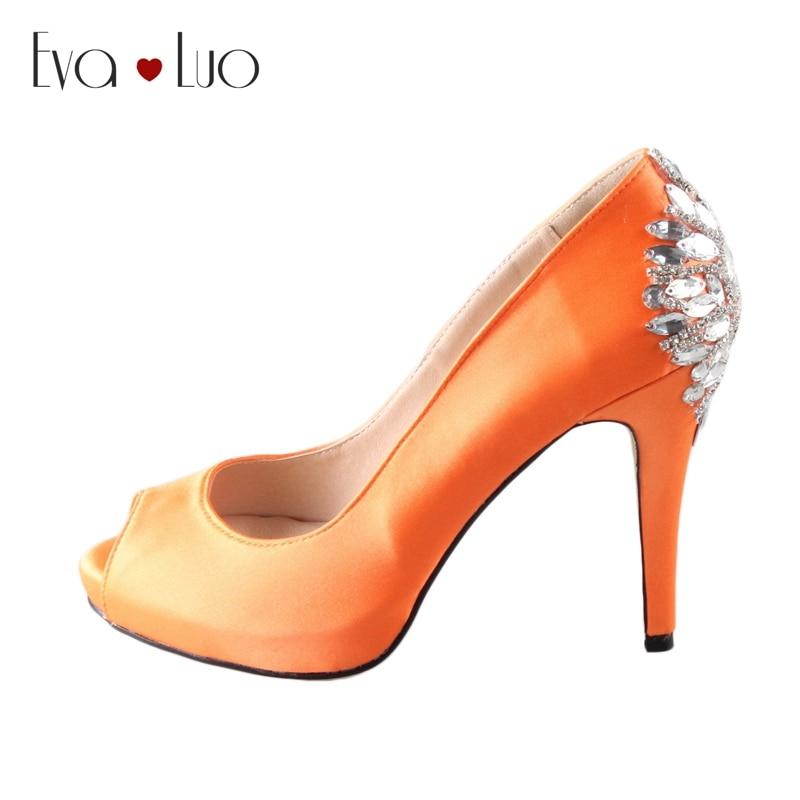 CHS485 dhl express مخصص المفتوحة كريستال البرتقال الحرير الحرير الزفاف أحذية عالية الكعب حذاء الزفاف-في أحذية نسائية من أحذية على  مجموعة 1