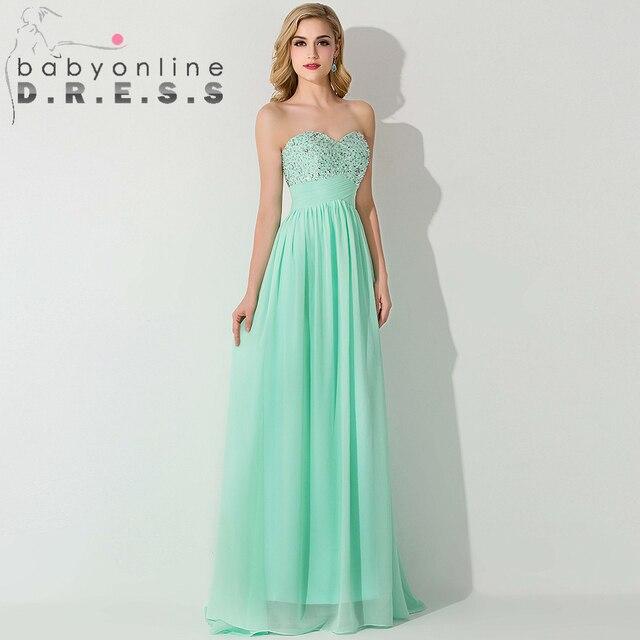 ecf6c8f328176 Bastante verde menta gasa moldeada baile vestidos largos 2015 De noche  elegante vestidos fiesta Robe De