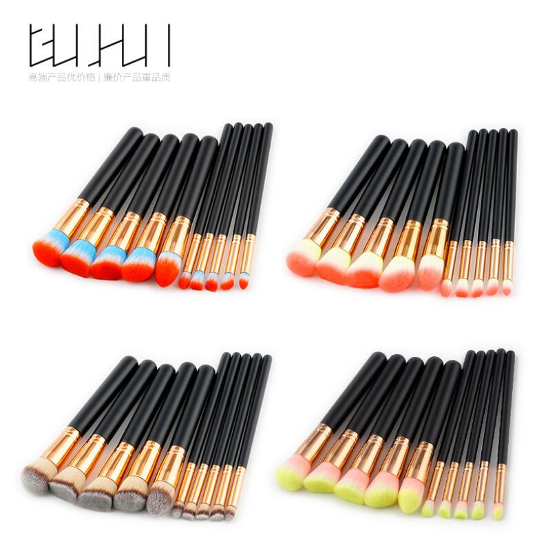 GUJHUI 10pcs high quality Cosmetic Makeup Brushes Set Contour Brush Pinceau Fond de Teint Wooden Handle Pincel Maquiagem 1pcs lot j112y imitation of brass wire brush for cleaning and polishing wooden brush diy using high quality on sale