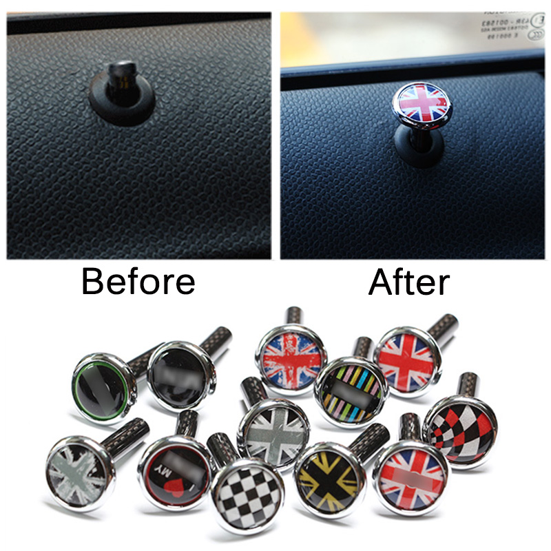 2pcs carbon fiber zinc alloy Door Lock Pin For Mini Cooper S One JCW Clubman Countryman R53 R55 R56 R57 R58 R59 R60 R61 F56 F57