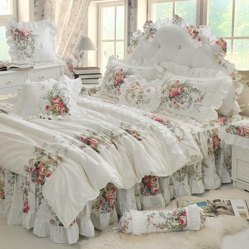 Новые Белые Свадебные Постельное белье Роскошные 4 шт. Свадебные Корея принцесса Набор пододеяльников для пуховых одеял Наборы для ухода за