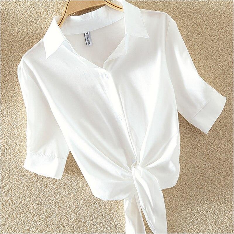 100% coton femmes Blouse chemise blanc d'été Blouses chemises vacances lâche à manches courtes décontracté hauts et chemisiers femmes Blusas nouveau