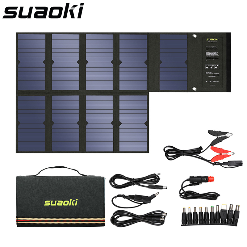где купить Suaoki 60W Solar Panel 5V USB and 18V DC Output Portable Foldable Power Bank Solar Charger for Smartphone Laptop дешево