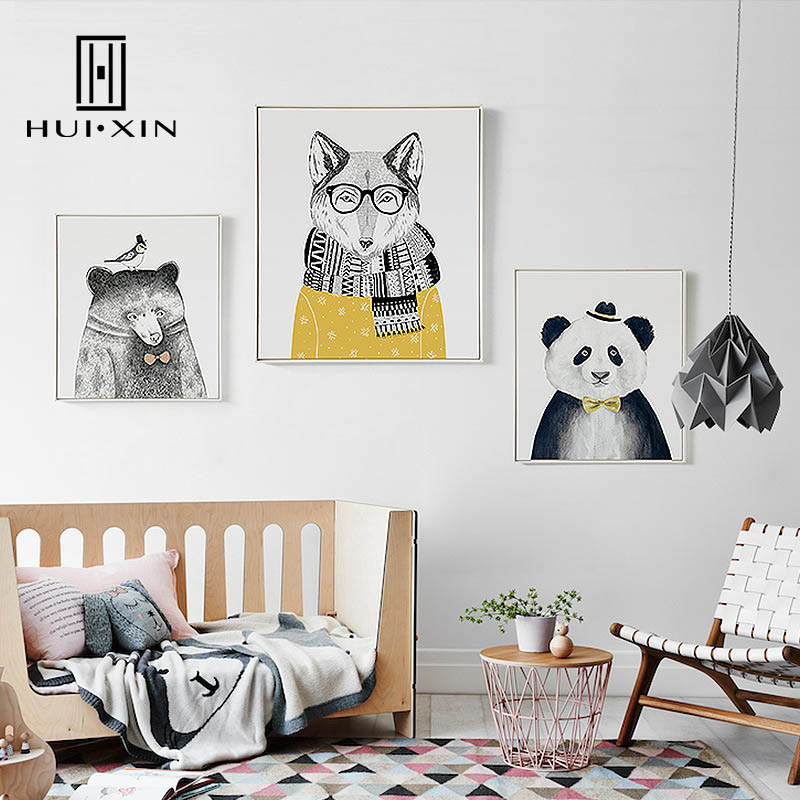 Home Decor Honest Nordic 3 Pieces Cartoon Cute Animal Christmas Decorative Painting Decoration For Living Room Wall Art Canvas Pictures No Framed Home & Garden