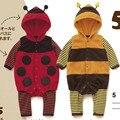 2016 nueva primavera y Otoño mamelucos del bebé Infantil Animal Encantador abejas Bebé Ropa/mameluco del bebé de la Mariquita escarabajos estilo bebé ropa