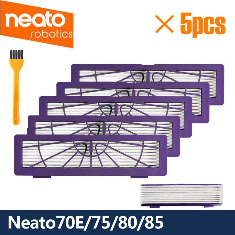 5 Pcs HEPA Filters For Neato Botvac D/Connected Series D7 D80 D85 D3 D75 D5 70e 75 80 85 Vacuum Cleaner Parts Pets/Allergies