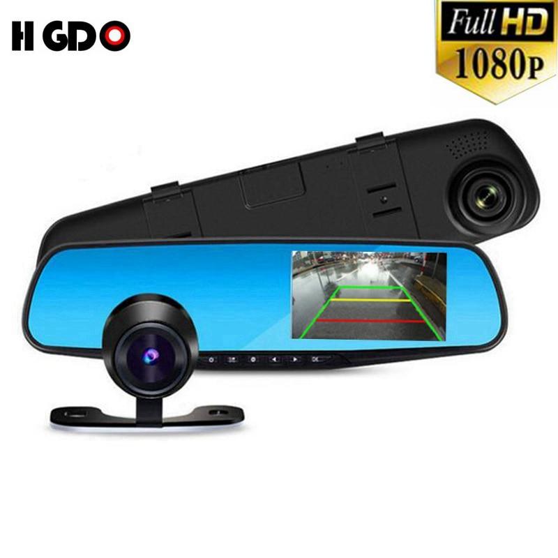 imágenes para 2017 HGDO Cámara Retrovisor Del Coche Con la Lente Dual Completo HD 1080 P Visión Nocturna registrador Dash Cam detector Con Vídeo Cam