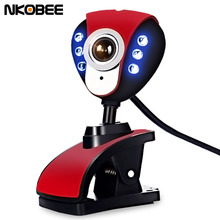 NKOBEE 6 LED USB Webcam Camera with Mic & Night Vision for Desktop PC Laptop Clip-On USB 2.0 2560x2048 Computer accessories