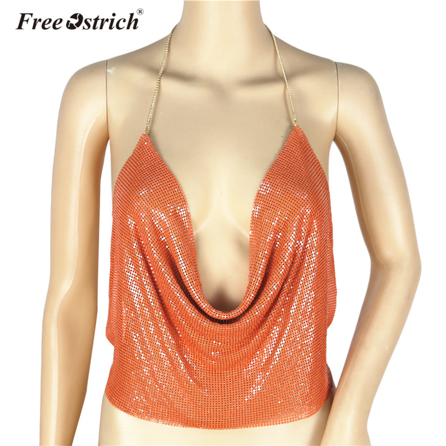 Free Ostrich Camis Women Summer Sexy Sequined   Tank     Tops   Halter Backless Chains Deep V-Neck Women   Tops   Vest female D30