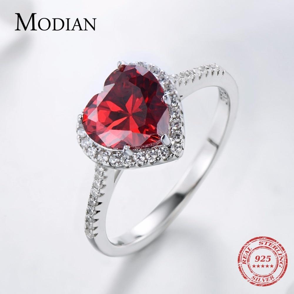 Modian 100% Prawdziwa 925 Sterling Silver Red Heart Pierścień 5A CZ - Modna biżuteria - Zdjęcie 3