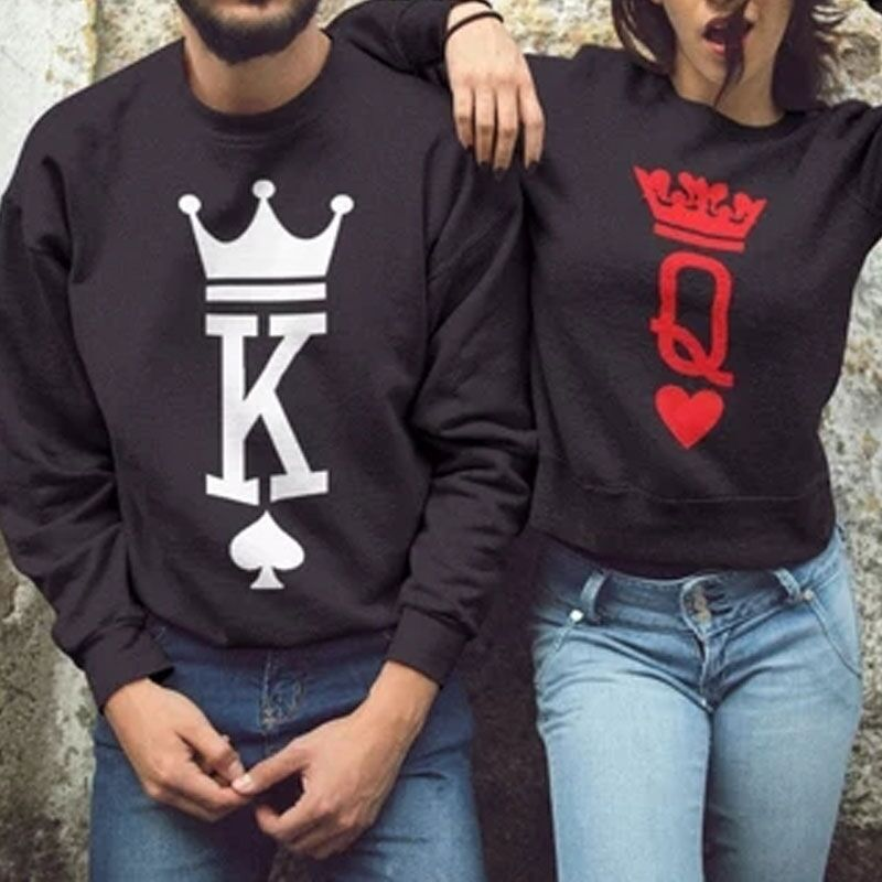 2019 Spring Autumn Women Men King Queen Black Hoodies Clothing Letter Printing Casual O Neck Couple Lover Pullover Drop Shipping