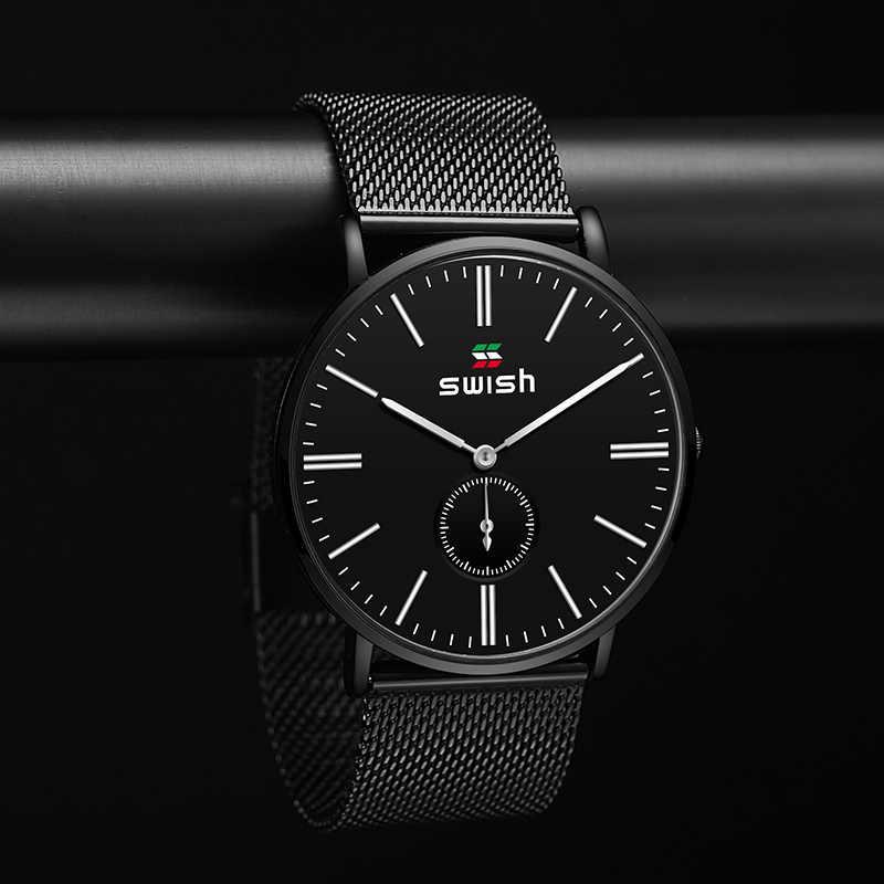 Swish 2020 novo preto casual malha cinto moda relógio de quartzo dos homens relógios marca superior luxo à prova dlogiágua relogio masculino