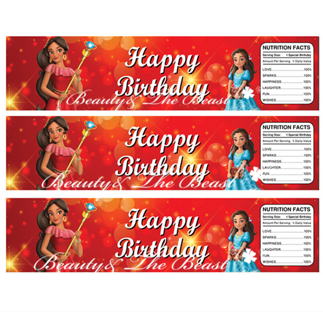 Elena of Avalor Bottle Water Labels, Trolls party