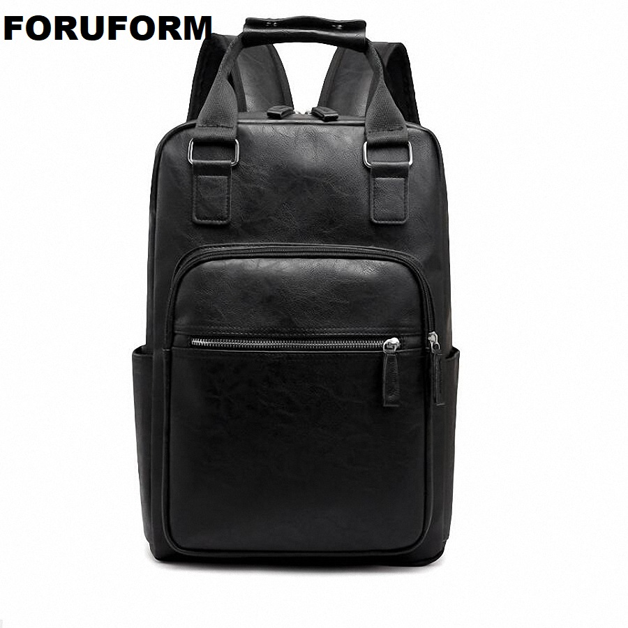 Backpacks For Men Bag Pu Black Leather Mens Shoulder Bags Fashion Male Business Casual Teenage School Bag Brown Li-2490 Luggage & Bags Men's Bags
