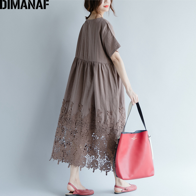 Women Dress Plus Size Summer Cotton Femme Lady Elegant Vestidos Pleated Lace Spliced Solid Black Loose Long Dresses 3