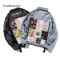 CamKemsey Autumn Women Cotton Denim Jacket Streetwear Floral Letter Embroidery Loose Boyfriends Denim Jackets Female Coat
