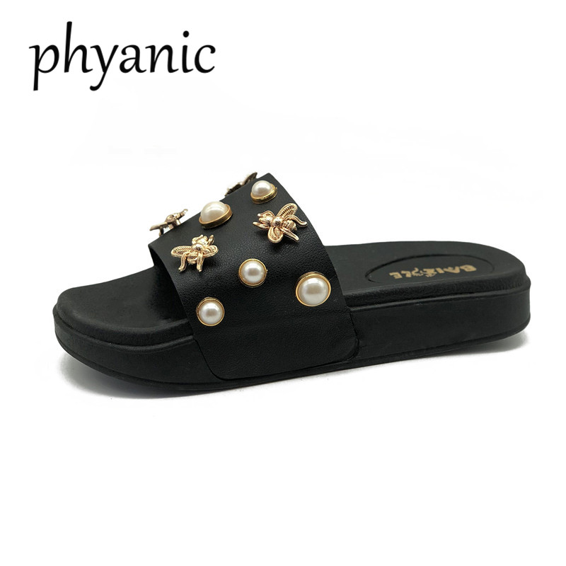 Phyanic Brand Hot Sale Women Shoes Bee Pearl Women Slippers 2018 Summer Leisure Beach Slides Femsle Flip Flops Low Flat Heel