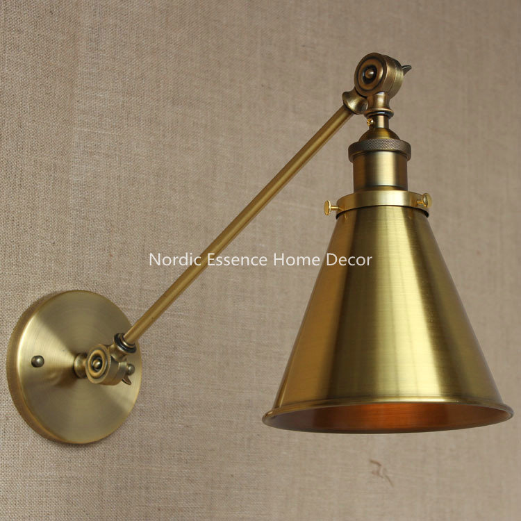 ФОТО FREE SHIPPING Nordic LOFT Industrial style bronze long arm American bakery aisle hall lobby classroom stairs,copper wall lamp
