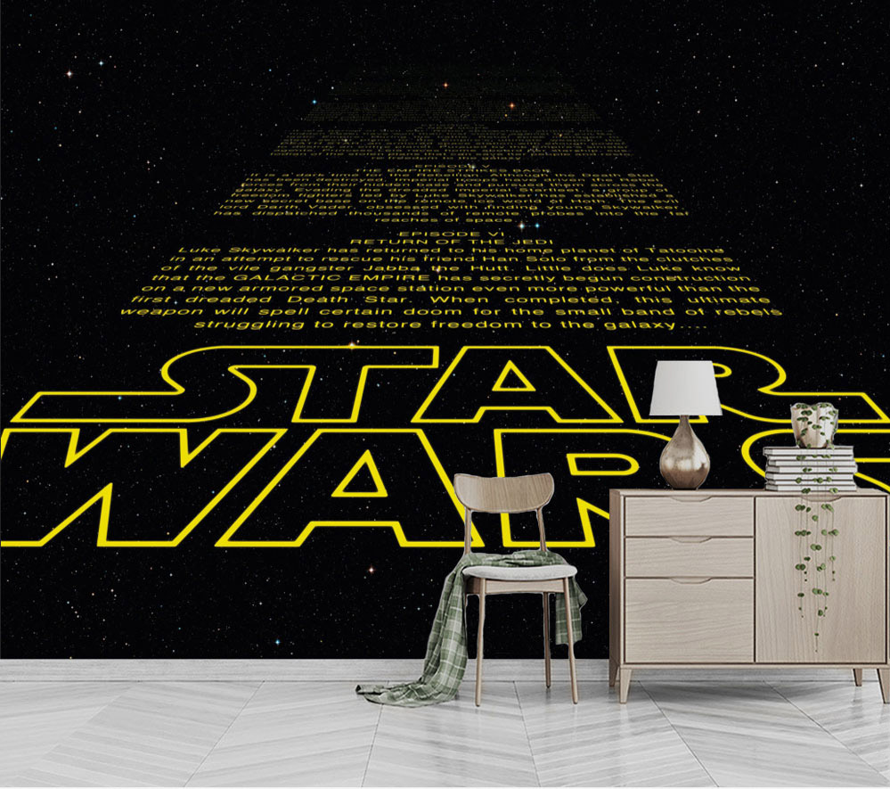 Bacaz Stereo STAR WARS English Letters Wallpaper Mural For Coffee Cafe Restaurant Hotel Background 3D Mural Wall Paper Sticker