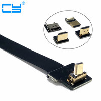 Up Angled Micro HDMI Male D Type to HDMI FPV FPC Flat Cable for GoPro GH4 BMPCC A5000 A6000 A7R A7S 5cm 10cm 20cm 30cm 50cm 80cm