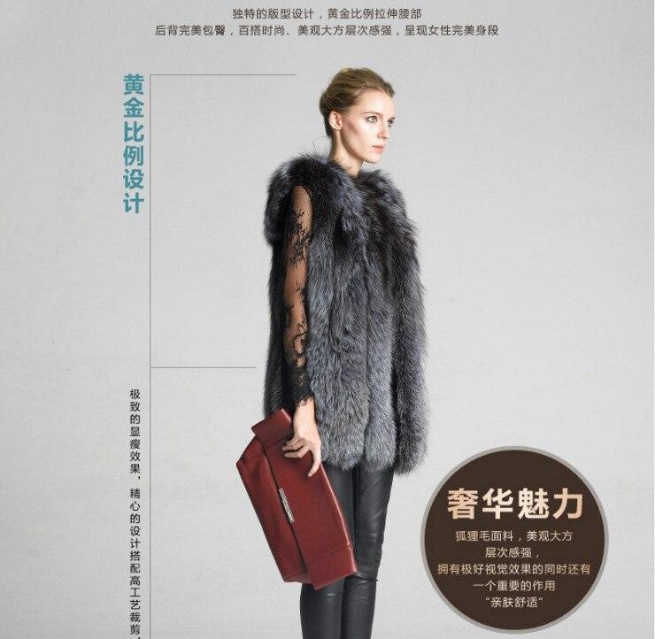 Femmes Long De Fourrure Silver Qualité Haute Top Chaud À Faux Dames Manteau Fox Color Renard Gilet Style vSBUIq