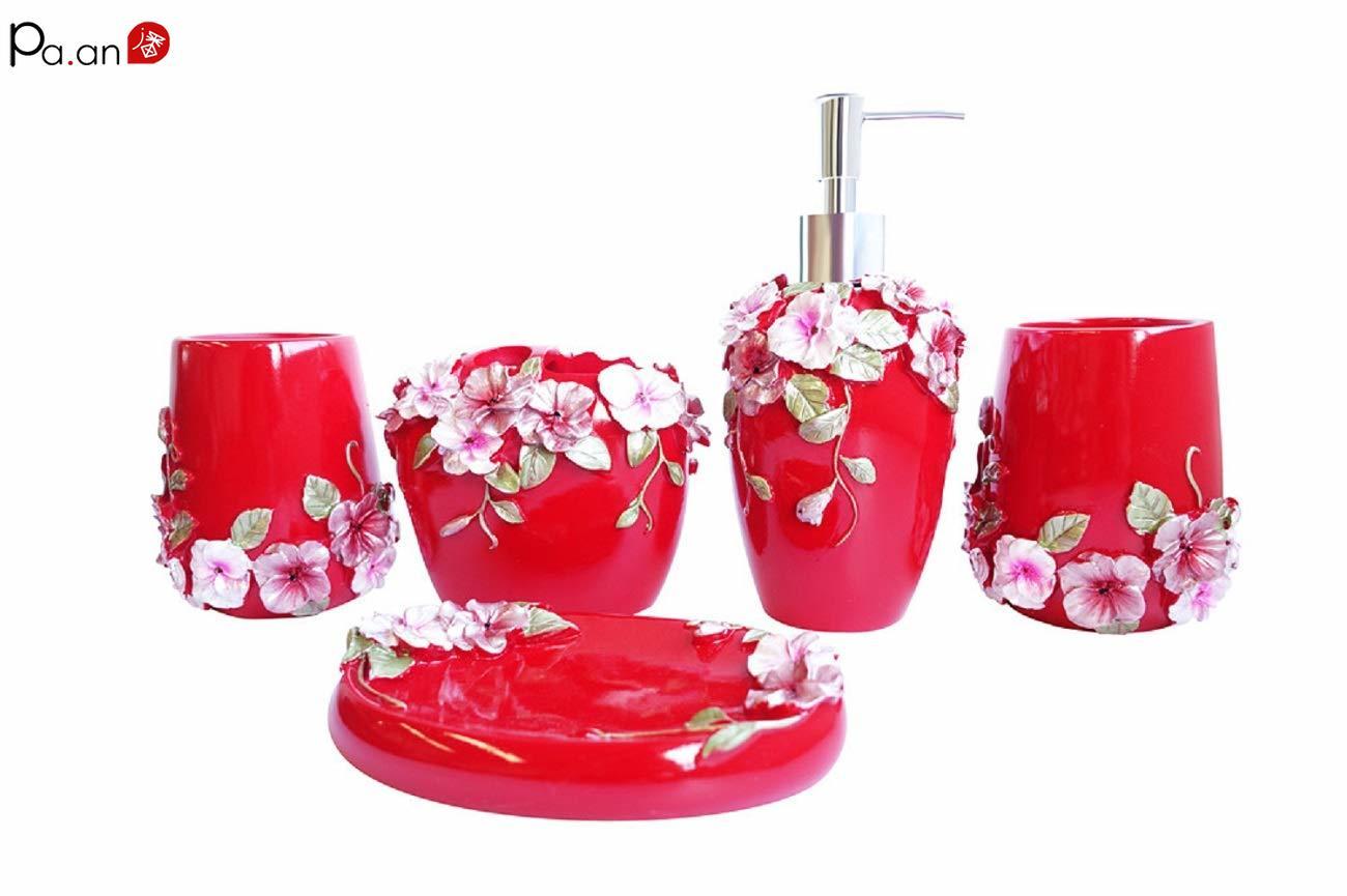 Joyous ensembles de salle de bain 5 pièces accessoires de salle de bain ensemble distributeur de savon brosse à dents porte-dentifrice cadeau de mariage décoratif pour la maison