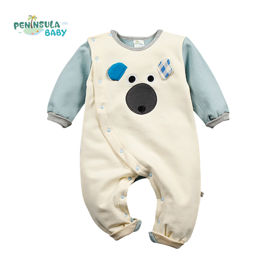Winter Newborn Bear Jumpsuit Patchwork Long Sleeve Baby Rompers Clothes Baby Boys Jumpsuits Infant Girls Clothing Overall unisex baby boys girls clothes long sleeve polka dot print winter baby rompers newborn baby clothing jumpsuits rompers 0 24m