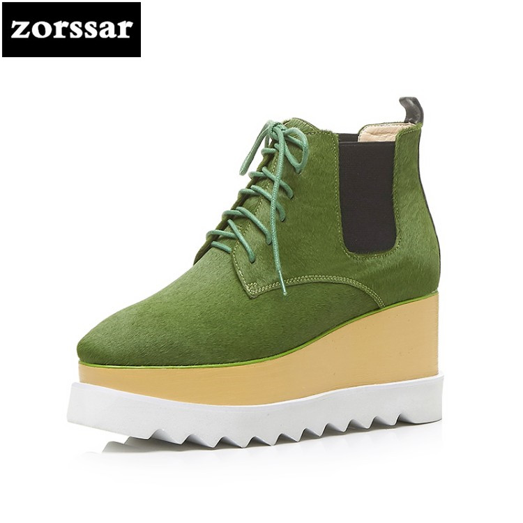 {Zorssar} Fashion horse hair womens ankle boots High heel 2018 New autumn winter Female shoes platform Wedges boots for women zorssar autumn ladies shoes wedges high heels women platform pumps fashion genuine leather horse hair pointed toe womens shoes