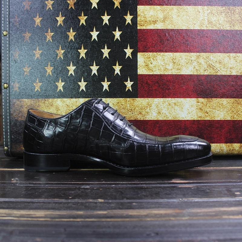 Sipriks Brands Printed Crocodile Shoes Black Mens Goodyear Welted Dress Shoes Boss Business Office Gents Social Oxfords Shoes 46