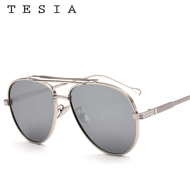 25193af342c22 ... TESIA Pilot Sunglasses Men Brand Designer Reflective Mirrored Aviation  Sun Glasses Male Three Beams Shades Eyewear ...