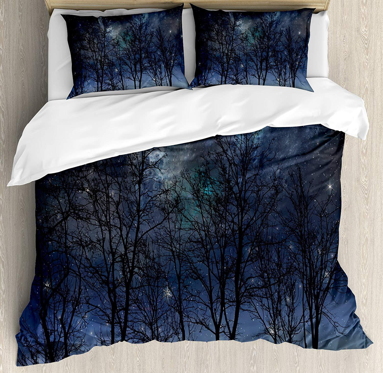 Ciel nocturne housse de couette ensemble roi taille profonde fantasmagorique forêt Branches Cosmos galaxie étoiles grappes astronomie vue literie ensemble nuit