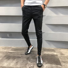 Brand New PU Leather Pants Men Autumn Winter Slim Fit Casual Mens Joggers Pants Drawstring Hip Hop Harem Pant Mens Trousers 40