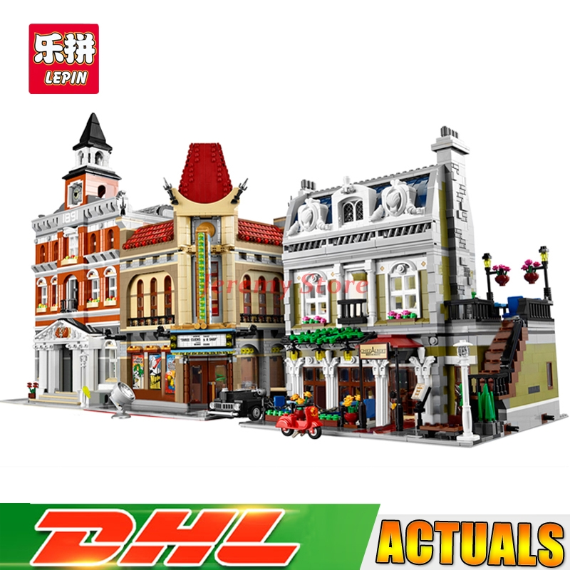 Lepin Street View Series 15003+15006+15010 Educational Building Blocks Bricks Model Toys Christmas Gifts 10224 10232 10243 new lepin 15003 2859pcs the topwn hall model building blocks kid toys kits compatible with 10224 educational children day gift