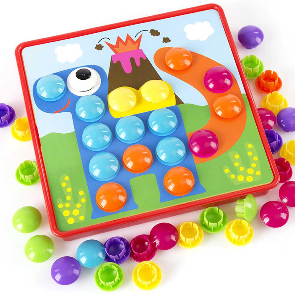 3D Teka-teki Mainan untuk Anak Pegboard Pendidikan Composite Picture Puzzle Kreatif Jamur Kuku Kit Pendidikan Permainan Mainan
