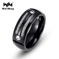 WelMag 8MM Men S Ring Stainless Steel Punk Rock Male Hematite Health Ring With Wire Cubic
