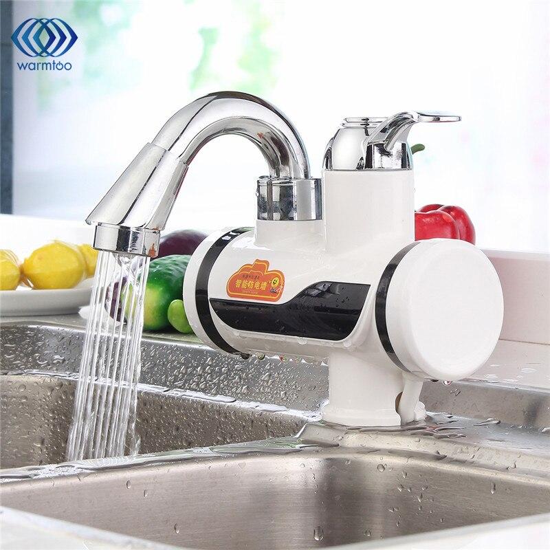 Warmtoo В 220 В AU Plug ABS пластик бортике белый светодио дный светодиодный цифровой Tankless Электрический Кухня нагреватель кран мгновенный горячей в...