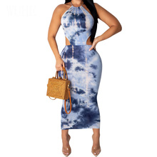 Sexy Backless Lace-upSleeveless Tie-dyed Printed Dress Off Shoulder Halter Bodycon Pencil Dresses Women Summer Retro Party Wear недорого