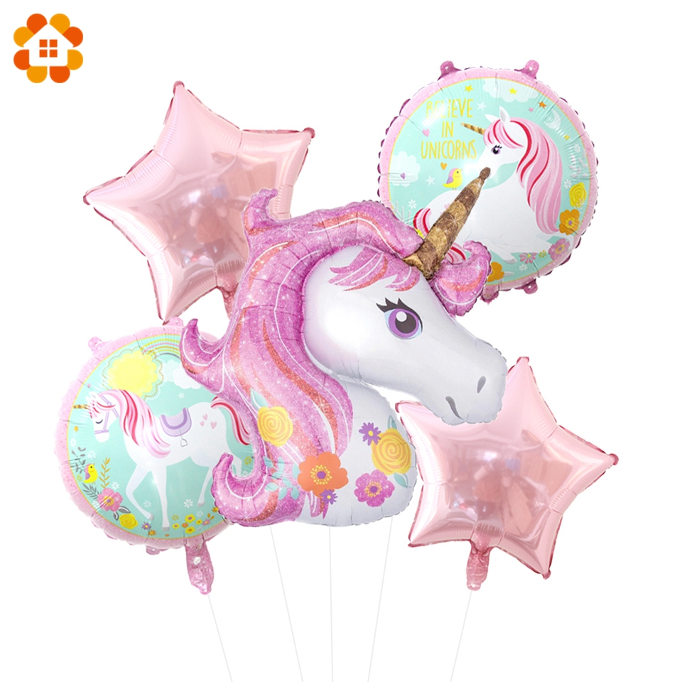 5PCS Large Unicorn Balloons Foil Air Ballons Unicorn Party Decorations Wedding Ballons Kids Toys Birthday Baby Shower Supplies