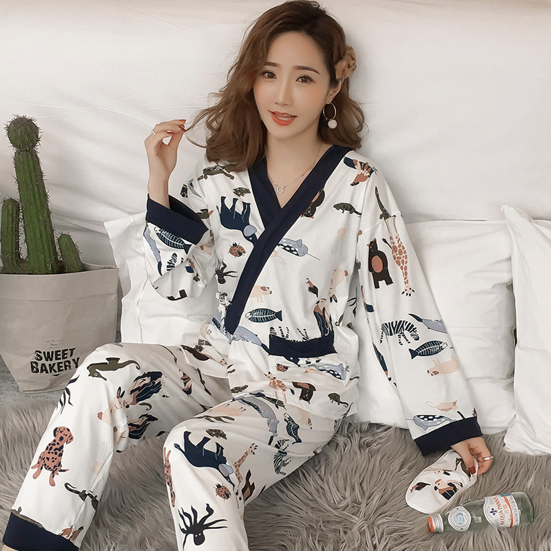 2019 new womens   Pajamas     Sets   2pcs/  set   Nightwear Sleepwear Women V-neck Sleepwear Summer Home Wear Sleep Wear For Women